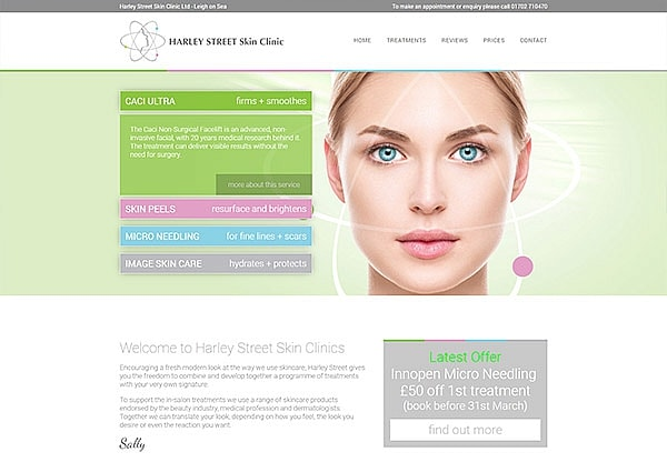 '.Harley Street Skin Clinic.' Website Image