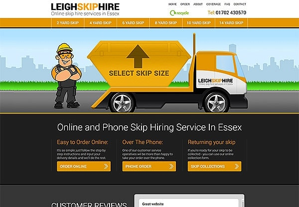 '.Leigh Skip Hire.' Website Image