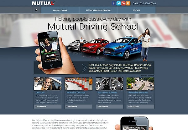 '.Mutual Driving School.' Website Image