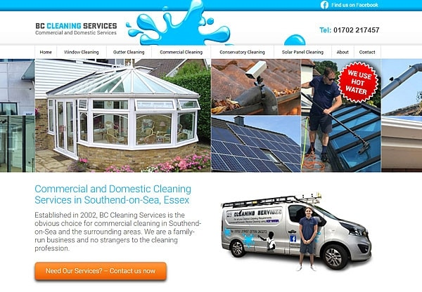 '.BC Cleaning Services.' Website Image