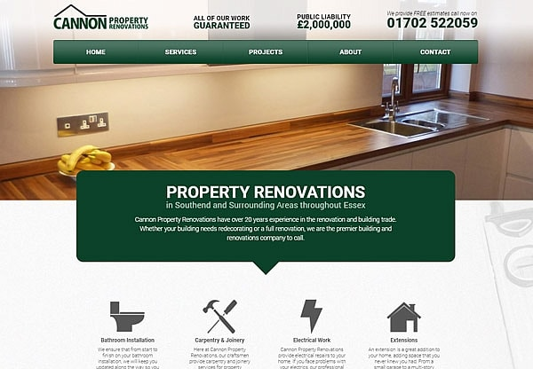'.Cannon Property Renovations.' Website Image